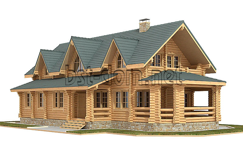 Projects of houses from logs with an area of ​​more than 200 m2