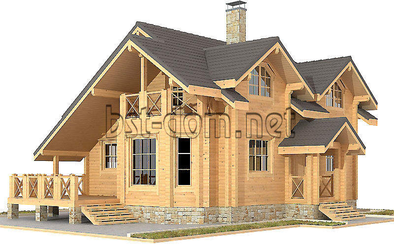 Projects of houses from square log